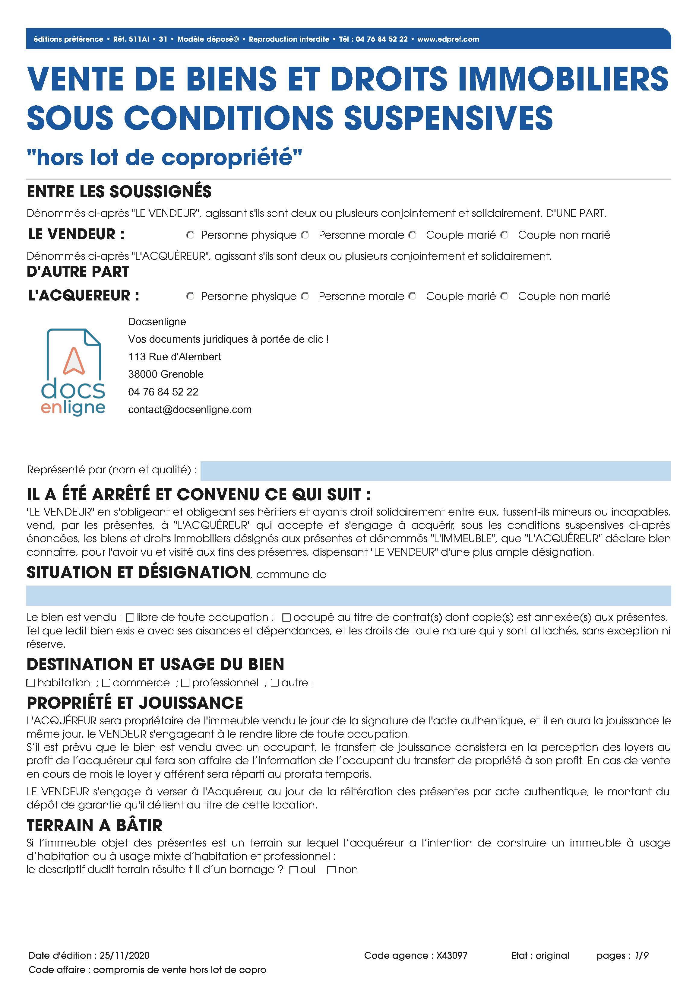 """Compromis de vente """"hors lot de copropriété"""""""