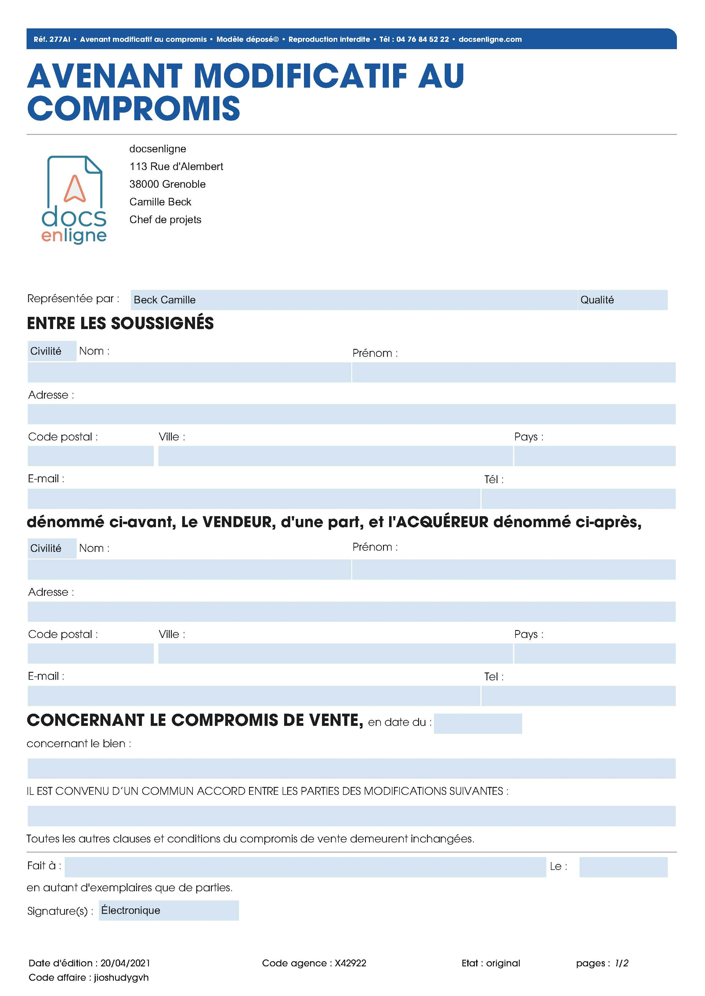 Avenant modificatif au compromis