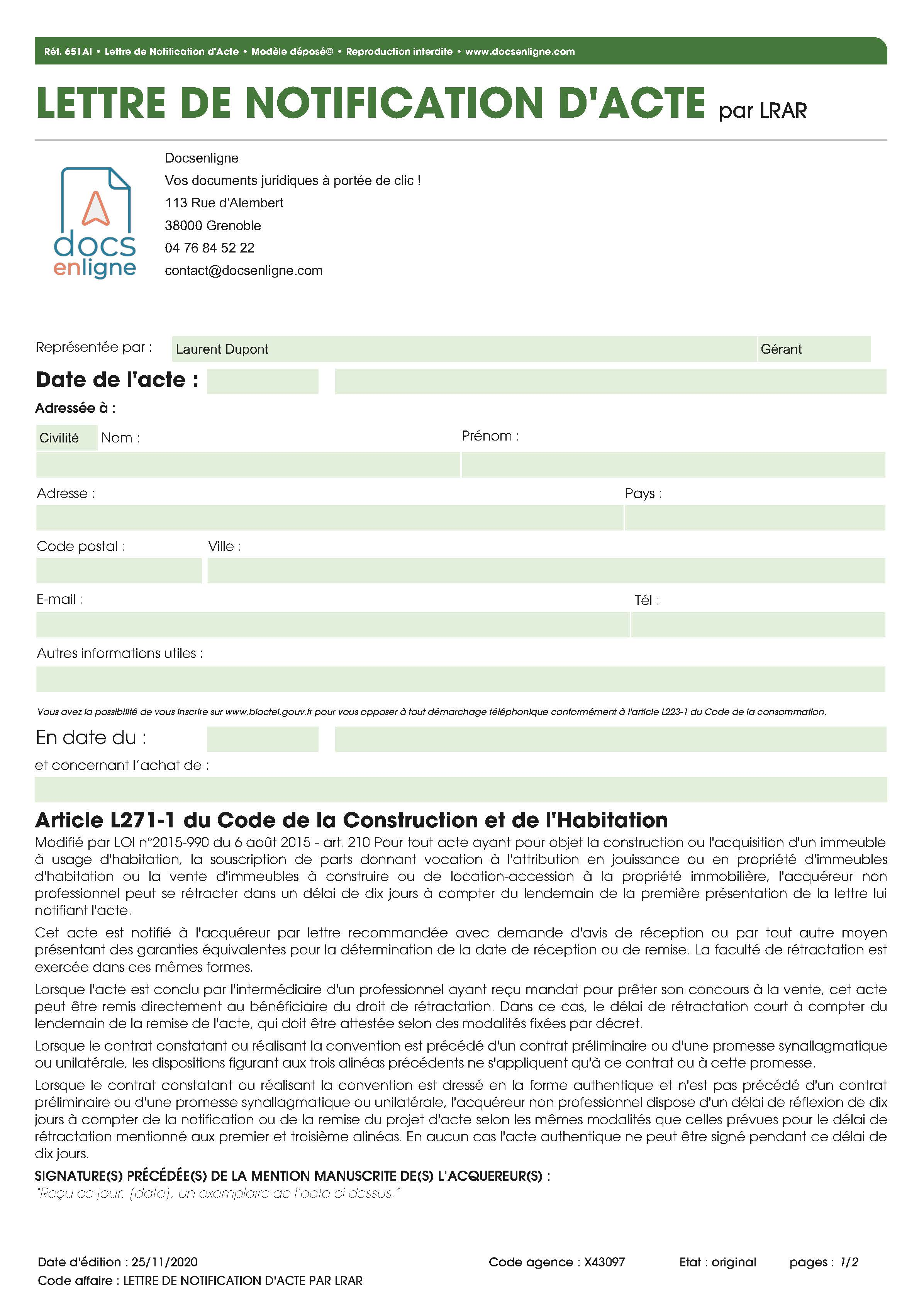Lettre de notification d'acte par LRAR