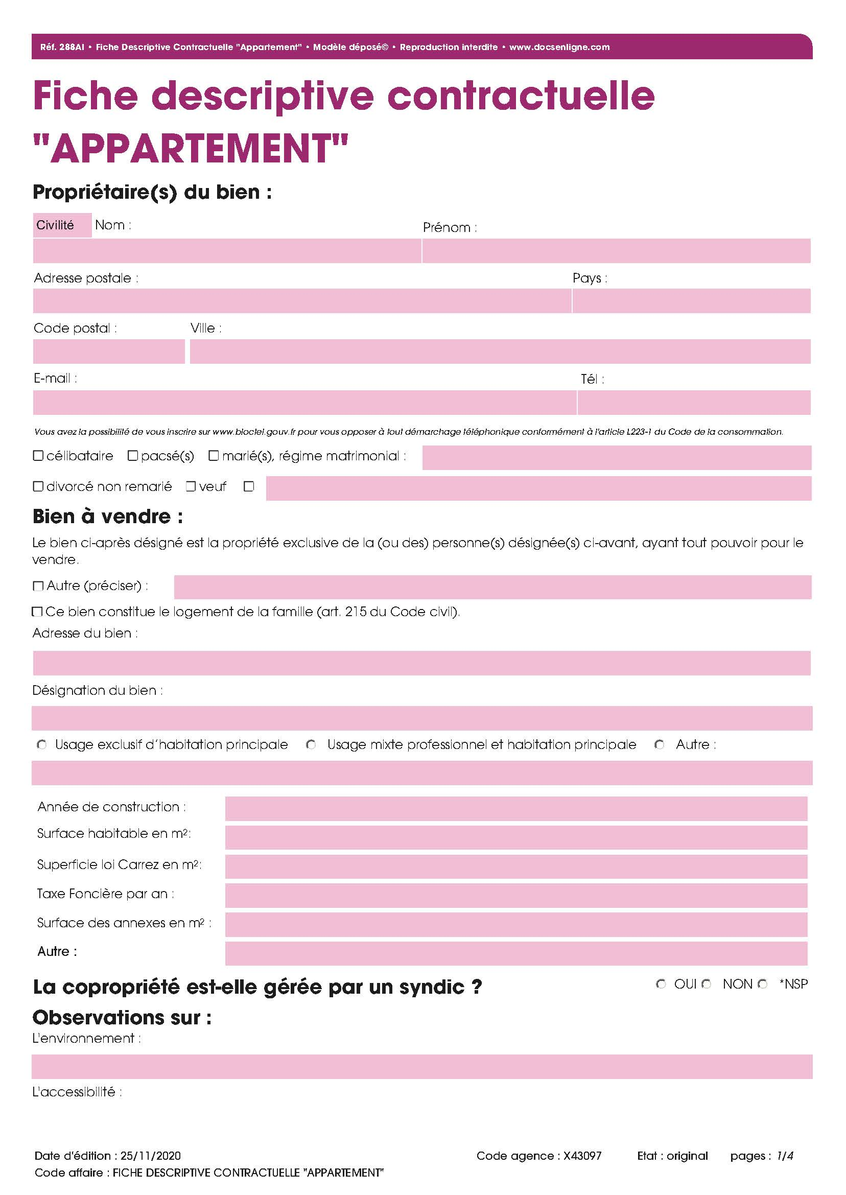 "Fiche Descriptive Contractuelle ""Appartement"""